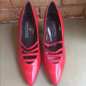 Vintage Maraolo Women's Shoes in Red Leather 9B
